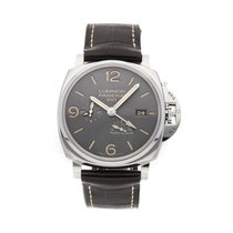 Panerai Luminor Due pre-owned 45mm Grey Date GMT Leather