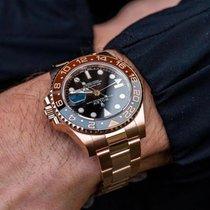 Rolex GMT-Master II Pозовое золото 40mm Черный Без цифр