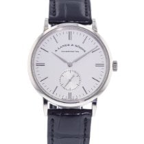 A. Lange & Söhne White gold Manual winding Silver 37mm pre-owned Saxonia
