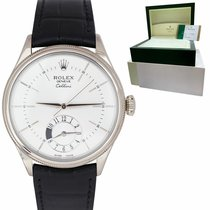 Rolex Cellini Dual Time pre-owned 39mm Silver Crocodile skin