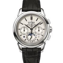 Patek Philippe Perpetual Calendar Chronograph Bílé zlato 41mm Stříbrná Bez čísel