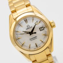 Omega Yellow gold Automatic Mother of pearl 29mm pre-owned Seamaster Aqua Terra