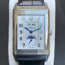 Jaeger-LeCoultre Grande Reverso Calendar pre-owned 41.6mm Silver Moon phase Date Weekday Month Crocodile skin