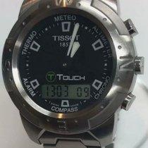 Tissot Touch gebraucht 41mm Schwarz Chronograph Tourbillon Datum Wecker Tachymeter Stahl