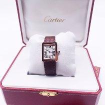 Cartier Rose gold Quartz Silver Roman numerals 31mm pre-owned Tank Solo