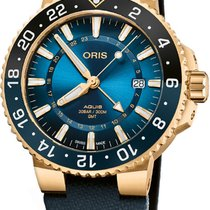 Oris Yellow gold Automatic Blue 43.5mm new Aquis GMT Date