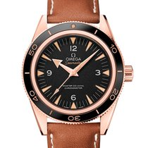 Omega Rose gold Automatic Black Arabic numerals 41mm new Seamaster 300