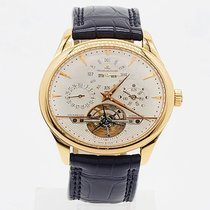 Jaeger-LeCoultre Master Grande Tradition pre-owned 42mm Silver Moon phase Tourbillon Date Month Perpetual calendar Crocodile skin