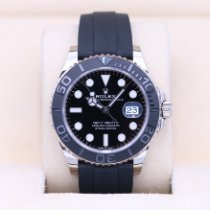 Rolex White gold Automatic Black No numerals 42mm pre-owned Yacht-Master 42