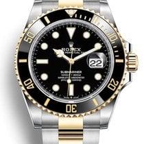 Rolex Submariner Date Or/Acier 41mm Noir Sans chiffres