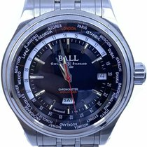 Ball Trainmaster pre-owned 41mm Black Date Weekday GMT Steel