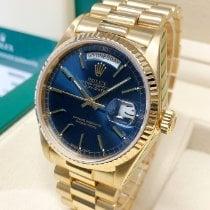 Rolex Day-Date 36 Желтое золото 36mm Синий Без цифр