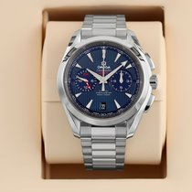 Omega Seamaster Aqua Terra pre-owned 43mm Blue Chronograph Date Year GMT Steel