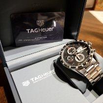 TAG Heuer Carrera Calibre 16 gebraucht 43mm Schwarz Chronograph Datum Wochentagsanzeige Tachymeter Stahl