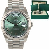 Rolex White gold Automatic Green Roman numerals 40mm pre-owned Day-Date 40