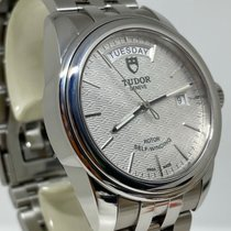 Tudor Glamour Date-Day pre-owned 39mm Silver Date Weekday Steel