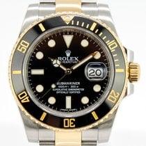Rolex Submariner Date Золото/Cталь 40mm Черный Без цифр