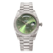 Rolex Day-Date 40 White gold 40mm Green Roman numerals United States of America, New York, NYC