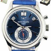 Patek Philippe Annual Calendar Chronograph pre-owned 40.5mm Blue Crocodile skin