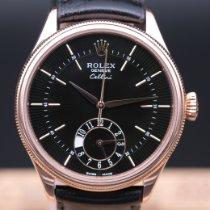 Rolex Cellini Dual Time Or rose 39mm Noir Sans chiffres