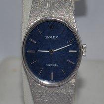 Rolex Белое золото Механические Синий 20mm подержанные Oyster Precision
