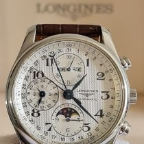 Longines Master Collection pre-owned 40mm Silver Moon phase Chronograph Date Weekday Month Crocodile skin