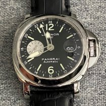 Panerai Luminor GMT Automatic pre-owned 44mm Black Chronograph Date GMT Leather