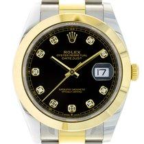 Rolex Datejust Acero y oro 41mm Negro Sin cifras