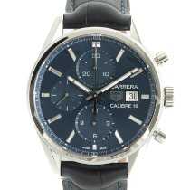 TAG Heuer Carrera Calibre 16 pre-owned 41mm Blue Chronograph Date Crocodile skin
