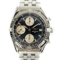 Breitling Chronomat gebraucht 39mm Schwarz Chronograph Datum Stahl