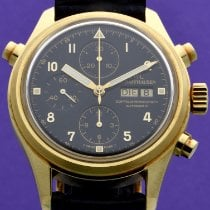 IWC Yellow gold Automatic Black Arabic numerals 42mm new Pilot Double Chronograph