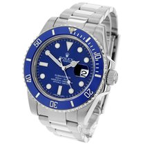 Rolex White gold Blue 40mm pre-owned Submariner Date
