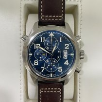 万国 Pilot Double Chronograph 钢 44mm 蓝色 阿拉伯数字