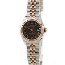 Rolex Red gold Automatic Brown pre-owned Lady-Datejust
