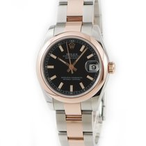 Rolex Red gold Automatic Black pre-owned Lady-Datejust