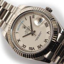 Rolex Day-Date II White gold 41mm White Roman numerals