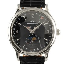 Jaeger-LeCoultre Master Calendar pre-owned 37mm Black Moon phase Date Weekday Month Crocodile skin
