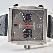 TAG Heuer Monaco Calibre 11 gebraucht 39mm Grau Chronograph Leder