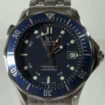 Omega Seamaster Diver 300 M pre-owned Blue Date Year GMT Steel