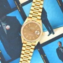 Rolex Datejust Gelbgold 36mm Braun Keine Ziffern