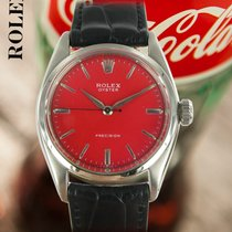 Rolex Oyster Precision Steel 35mm Red No numerals