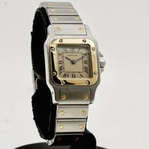 Cartier Santos Galbée подержанные 24mm Белый Золото/Сталь