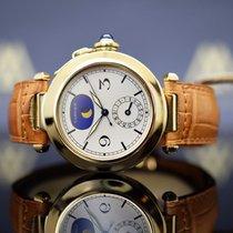Cartier Pasha gebraucht 38mm Champagnerfarben Mondphase Datum Leder