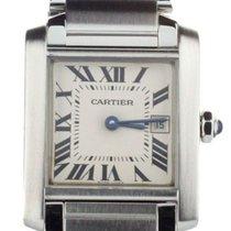 Cartier Steel Quartz White 30mm pre-owned Tank Française