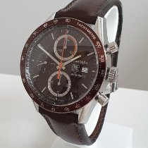 TAG Heuer Carrera Calibre 16 gebraucht 41mm Braun Chronograph Datum Leder