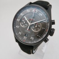 TAG Heuer Carrera Calibre 36 pre-owned 43mm Black Chronograph Flyback Date Tachymeter Leather
