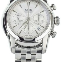 Oris Artelier Chronograph pre-owned 45mm Silver Chronograph Date Steel