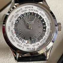 Patek Philippe World Time pre-owned 38,5mm Grey Crocodile skin