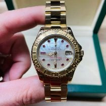 Rolex Yellow gold Automatic Mother of pearl No numerals 35mm pre-owned Yacht-Master
