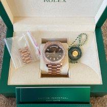 Rolex Day-Date 40 gebraucht 40mm Braun Roségold
